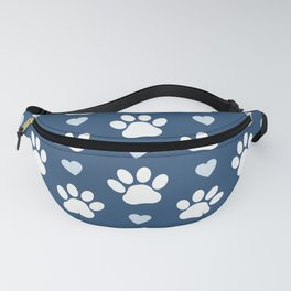 Dog Paws, Traces, Animal Paws, Hearts - Blue White Fanny Pack