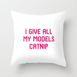 I Give All My Models Catnip Pet Coordinator Quote Throw Pillow