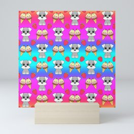 Cute happy funny baby Schnauzer puppy, sweet adorable yummy colorful Kawaii ice cream cones and red summer strawberries cartoon bright rainbow blue pink pattern design Mini Art Print