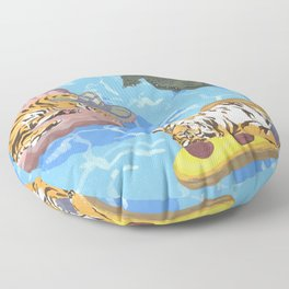 Pool Partiers (Pizza Clam Gator) Floor Pillow