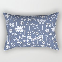 Peoples Story - White on Blue Rectangular Pillow