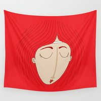 redhead Wall Tapestries featuring The sad redhead girl by Adrian Serghie