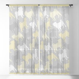 Grey and Yellow Pugs Pattern Sheer Curtain