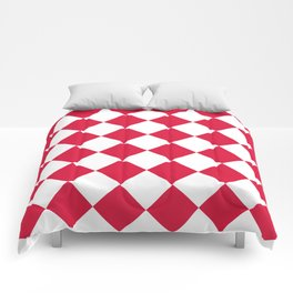 Large Diamonds - White and Crimson Red Comforters