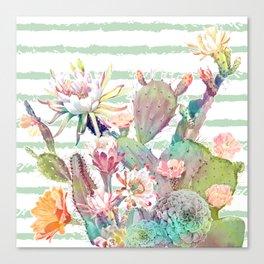Watercolor cactus, floral and stripes design Canvas Print