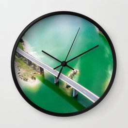 Aerial view of Bridge over Sylvenstein Lake Wall Clock
