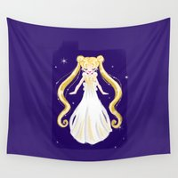 sailor moon Wall Tapestries featuring sailor moon by Erica_art