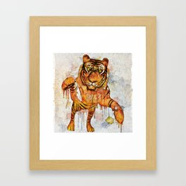 tiger splash ! Framed Art Print