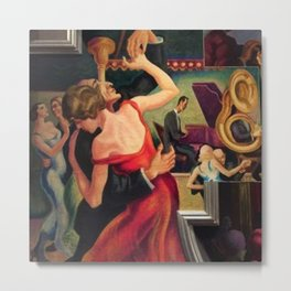 Classical Masterpiece Couple Dancing to Favorite Song by Thomas Hart Benton Metal Print