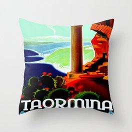 Vintage Taormina Italy Travel Throw Pillow