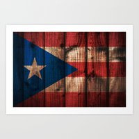 puerto rico Art Prints featuring puerto rico wood background by franckreporter