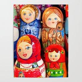Culture. Group of matrioska, or babushka, symbol of maternity from Russia. Poster