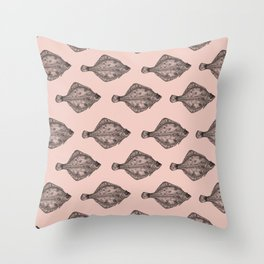 Pink flatfish pattern Throw Pillow