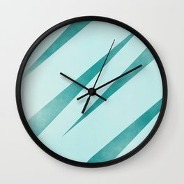 stripes lightblue and dark cyan Wall Clock