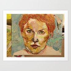 Map self portrait Art Print