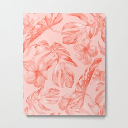 Tropical Dream Palm Leaves Deep Pink Metal Print
