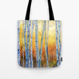 Birch Trees at Sunset Tote Bag