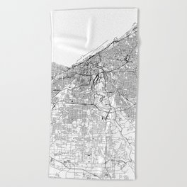 Cleveland White Map Beach Towel