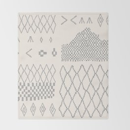 Moroccan Patchwork in Cream and Grey Throw Blanket