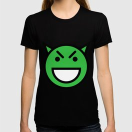 Smiley Face   Laughing Evil Looking Devil Face Green T-shirt