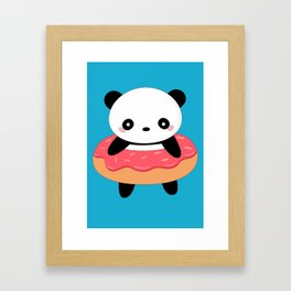Kawaii Donut Panda Framed Art Print