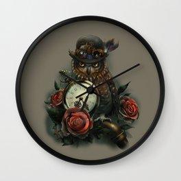 Sir Owl. Steampunk Wall Clock