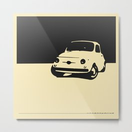 Fiat 500 1959, Black on Cream Metal Print