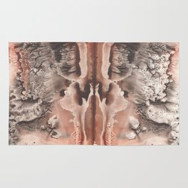 brown Rorschach test, watercolor, monotype, abstract symmetric painting Rug