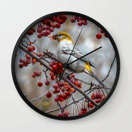 Pine Grosbeak Wall Clock