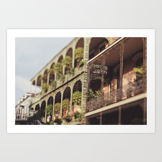 New Orleans Royal Street Balconies Art Print