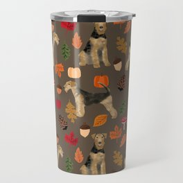 Airedale Terrier Autumn Fall dog woodland design airedale cute pillow phone case Travel Mug