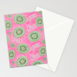 Watercolor Kiwi Slices in Neon Pink Punch Stationery Cards