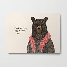 Bear Dress Up Boa Metal Print