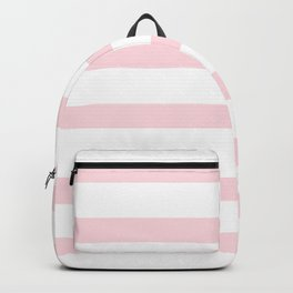 Pastel Pink Stripes on White Background Backpack