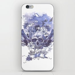 Watercolor Skull and Flowers iPhone Skin