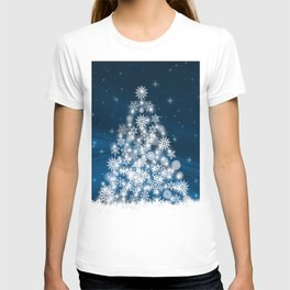 Blue Christmas Eve Snowflakes Winter Holiday T-shirt
