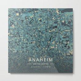 Anaheim, United States - Cream Blue Metal Print