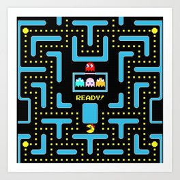 pac-man blue Art Print