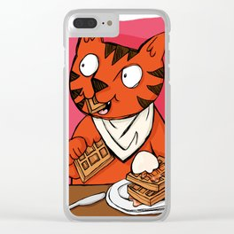 He's Eating Breakfast! Waffles Are Grrreat Anytime. Clear iPhone Case