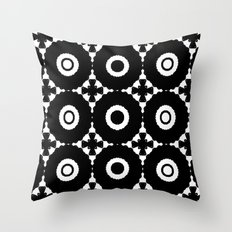 White and Black Circles with Crosses Throw Pillow