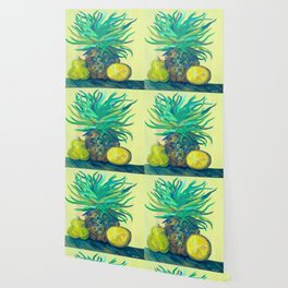 Pear and Pineapple Wallpaper