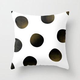 Dusted Black Polka Throw Pillow
