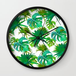 Abstract hand painted forest green watercolor tropical leaves Wall Clock