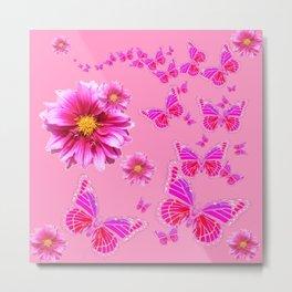 Decorative Pink Dahlia's & Butterflies Pattern Metal Print