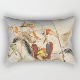 "Eugène Delacroix ""Cavalier arabe à cheval"" Rectangular Pillow"