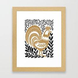 Stand - linocut rooster botanical farm folk art print Framed Art Print