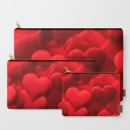 Red hearts background Carry-All Pouch