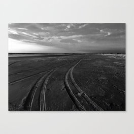 Beach with Tire Tracks Canvas Print