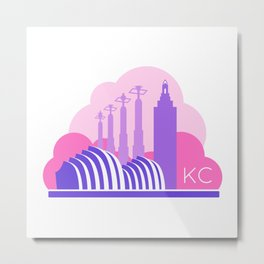 Kansas City in the Clouds - Pink and Purple Metal Print
