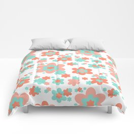 Coral and Mint Green Floral Comforters
